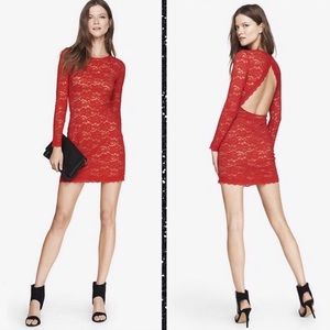 Express Sexy Red Lace Long Sleeve